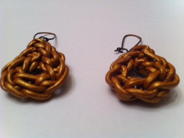 Crocheted Leather Earrings